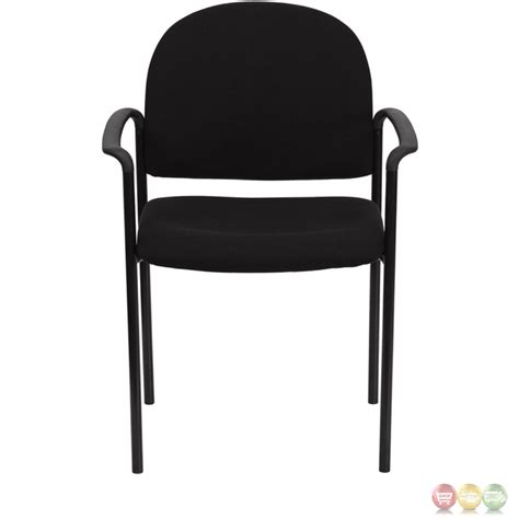 Comfortable Side Chairs Black Fabric Comfortable Stackable Steel Side Chair With Arms