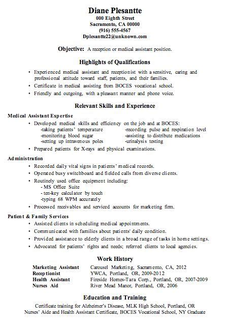 resume sample receptionist or medical assistant random