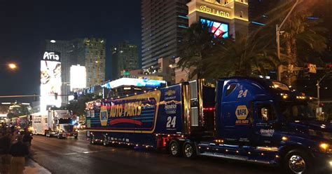 nascar hauler parade greeted  rowdy fans  las vegas strip fox sports