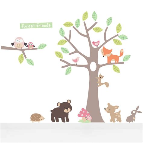theme line forest friend pastel forest friends wall stickers by parkins interiors