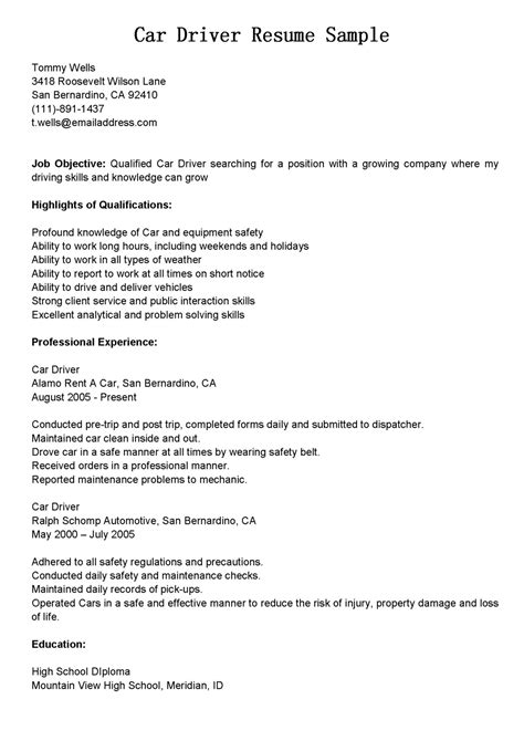 car resume exles driver resumes car driver resume sle
