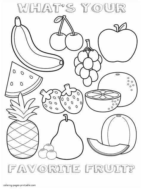 Nutrition Coloring Pages For Kindergarten by Healthy Food Coloring Pages For Preschool Fruits Sheet