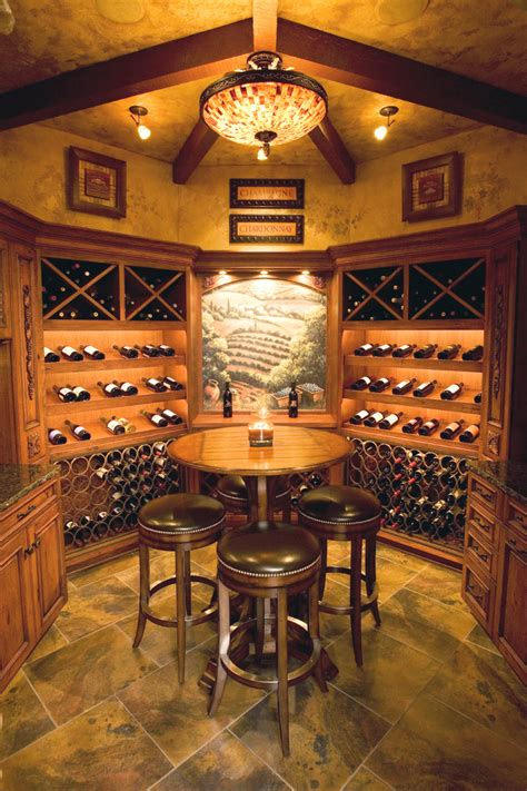 Wine Cellar Stairs - glamorous semi flush ceiling lights in wine cellar mediterranean with small home bar next to