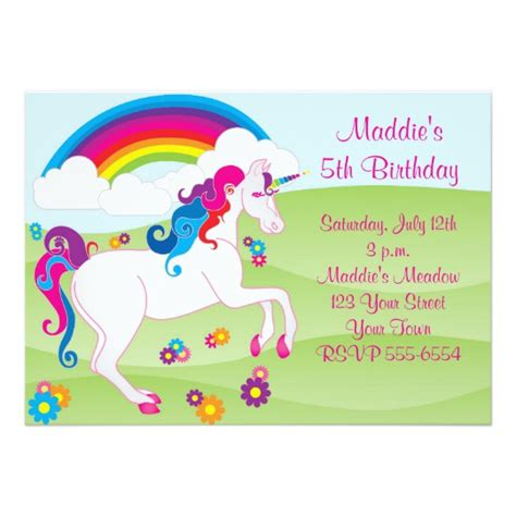unicorn birthday invitation templates rainbow unicorn birthday invitations zazzle