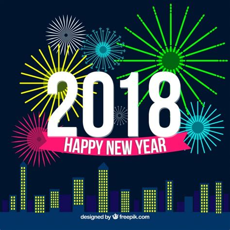 new year colors 2018 fireworks new year 2018 background in neon colors vector