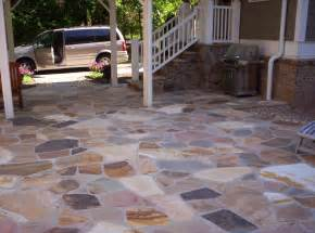 flagstone patio and fieldstone stoop mixed colors from