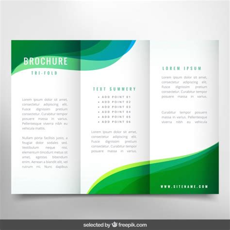 brochure template for publisher green wavy brochure vector free