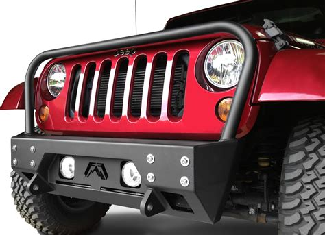 jeep front grill guard fab fours jk07b18561 fmj front stubby winch bumper with