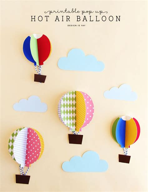 Balloon Pop Up Card Template by Pop Up Air Balloons Design Is Yay