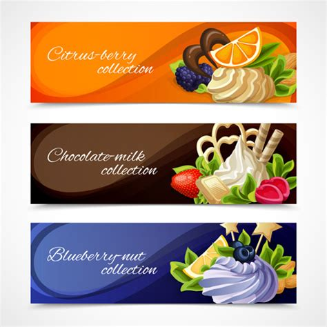 design banner sweet 17 shiny chocolate and sweets vector banners free vector in