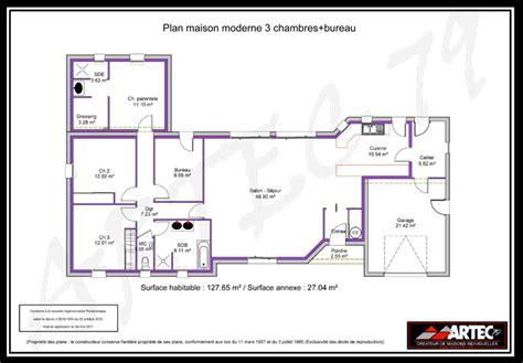 plan maison 3 chambre plan de maison 100m2 great plan maison maison de plain