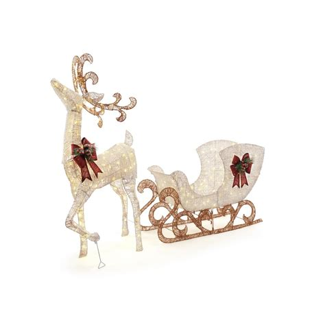 pvc lighted reindeer with sleigh home accents 60 in 160 light pvc deer and 44 in 120 light sleigh 8 ft ty336 337 1711