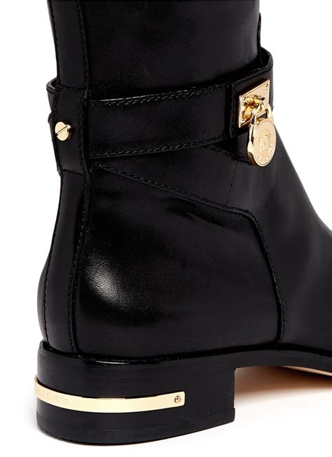 michael kors aileen leather boots in black lyst