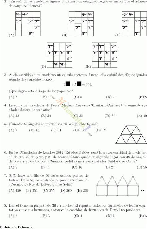 evaluacin de la olimpiada de sexto grado olimpiada de matematica canguro quinto grado de primaria