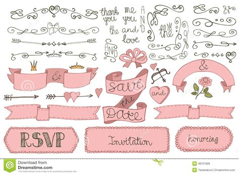 doodle ribbon vector free doodles wedding ribbons borders badges decor set stock