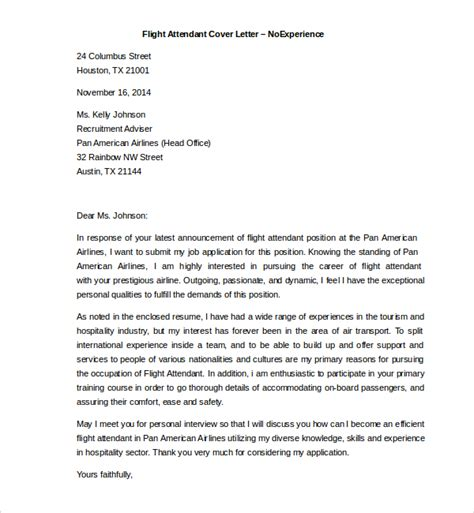 Flight Attendant Cover Letter by Sle Flight Attendant Cover Letter 6 Free Documents In Pdf Word