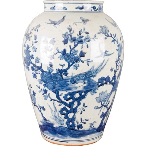 blue and white porcelain classic vase with birds