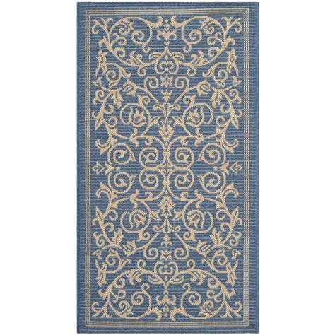 Safavieh Courtyard Blue Natural 2 Ft X 3 Ft 7 In Indoor Outdoor Rugs Home Depot