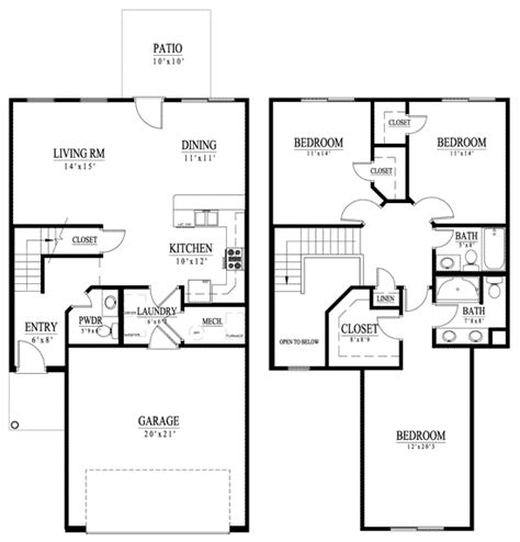 1200 sqft 2 story house plans square two story home plans