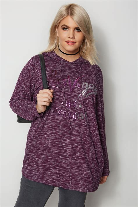Napoclean Strong By Nry Fashion purple sequin sweatshirt plus size 16 to 36