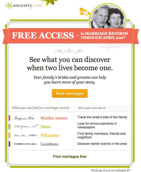 Free Access To Marriage Records Free Access To Marriage Records At Ancestry Through April 21 2013 Genealogyblog