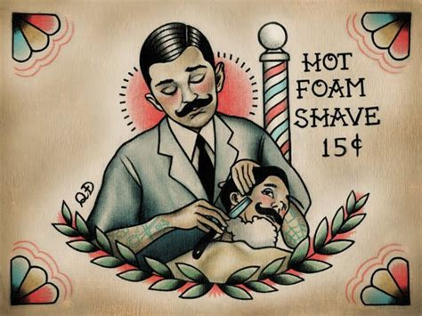 parlor tattoo prints barber and patron print