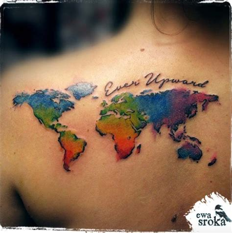 world map tattoo designs 40 world map tattoos that will ignite your inner travel