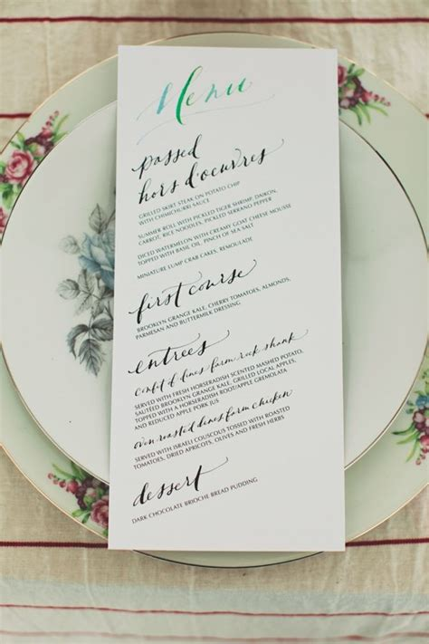 entice  guests   lovely wedding menu