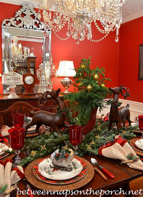 home and garden christmas decorations christmas table setting tablescape with plaid plates and a