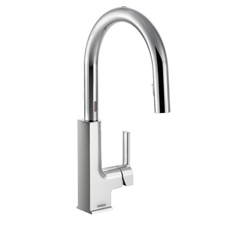 chrome kitchen faucets moen sto single handle pull sprayer touchless kitchen