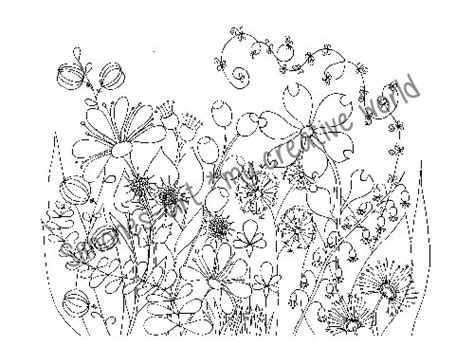 Flower Meadow 3 Adult Coloring Page A4 Meadow Coloring Page