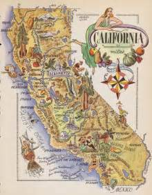 whimsical california map fishing gold mining cowboy silk