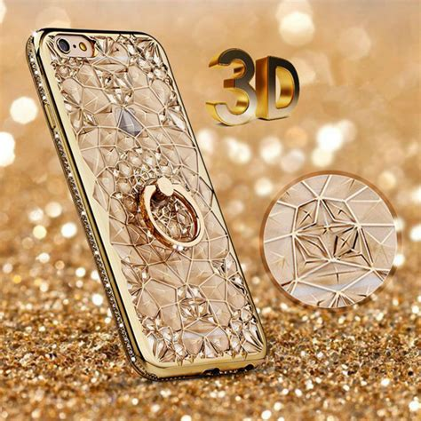 Flower Softcase Iphone 5s Gold gold plating 3d rugged flower glitter diamonds phone