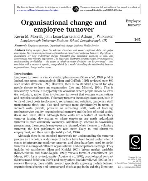 research papers on employee retention organisational change and employee turnover pdf
