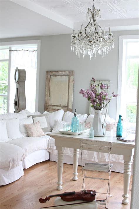 bright slipcover sofa  living room shabby chic