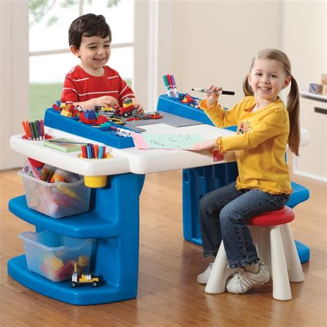 play desk for toddlers activity table stool step2 build storage plastic