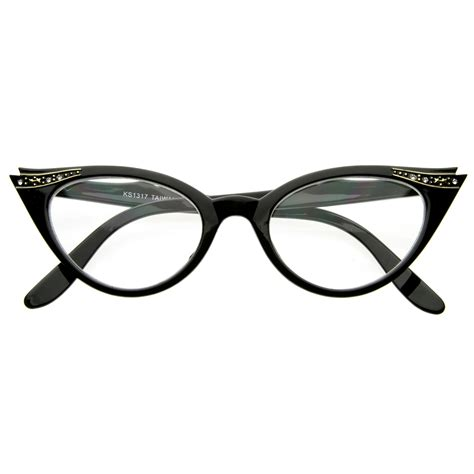 vintage 1950s inspired fashion clear lens cat eye glasses