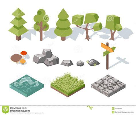 landscape design elements vector illustration flat elements of nature trees bushes rocks stock vector
