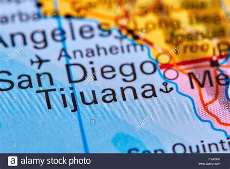 usa mexico border map tijuana city at the mexico usa border on the world map