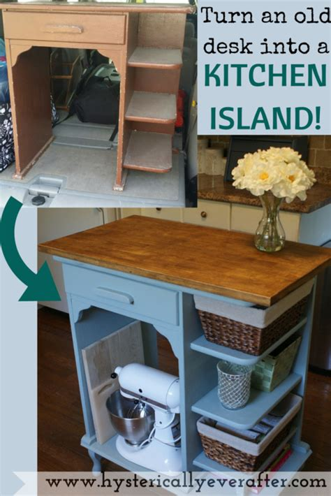 Diy Turn A Desk Into A Kitchen Island So Easy So Diy Kitchen Desk