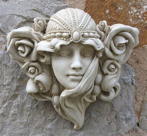 Art Nouveau Face Wall Ornament Garden Wall Plaques Garden Wall Plaques