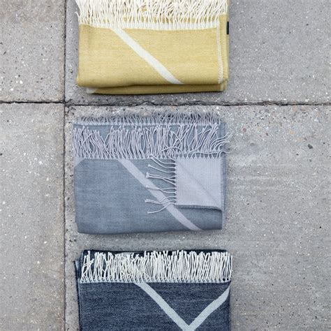 decke grau weiss mesch woollen blanket from by lassen in the shop