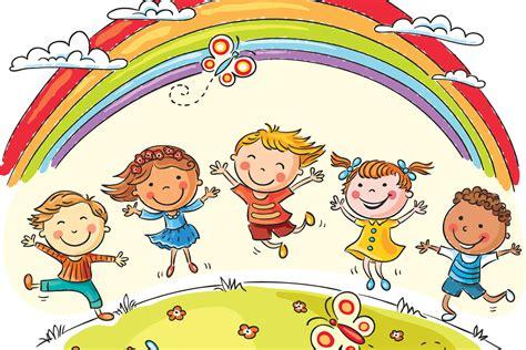 imagenes foto escolar kids in rainbow park wallpaper for decor