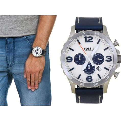New Selempang Fossil 9210 2 Leather new fossil jr1480 nate chronograph beige navy blue leather s ebay