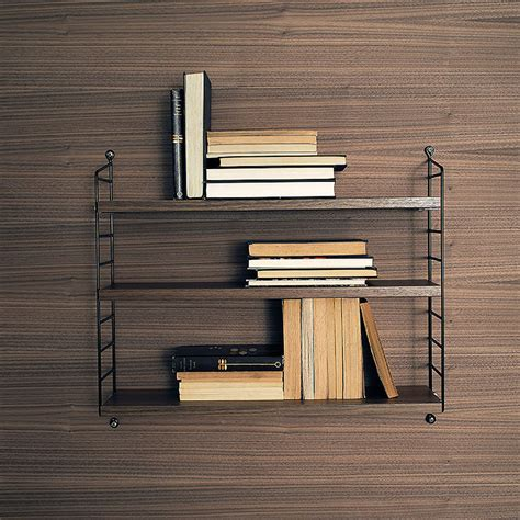 String Pocket Shelf by Top3 By Design String String Pocket Walnut Shelves Black