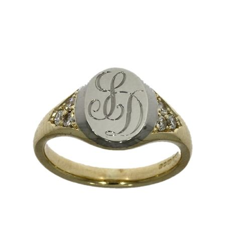 9ct white yellow gold set signet ring