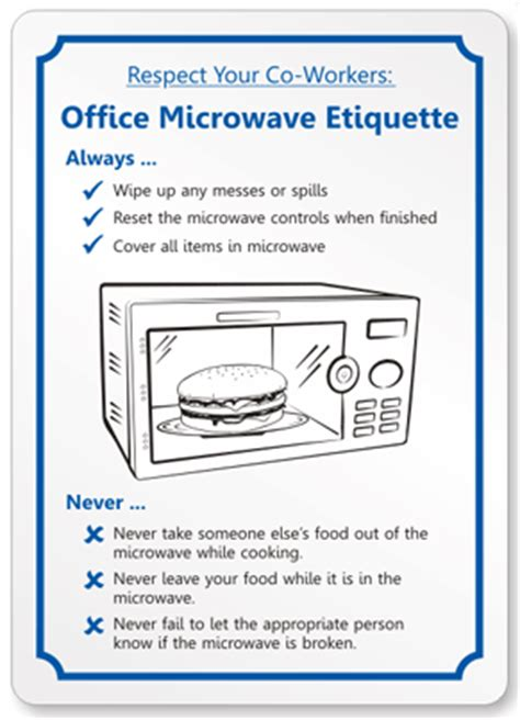 Office microwave etiquette sign