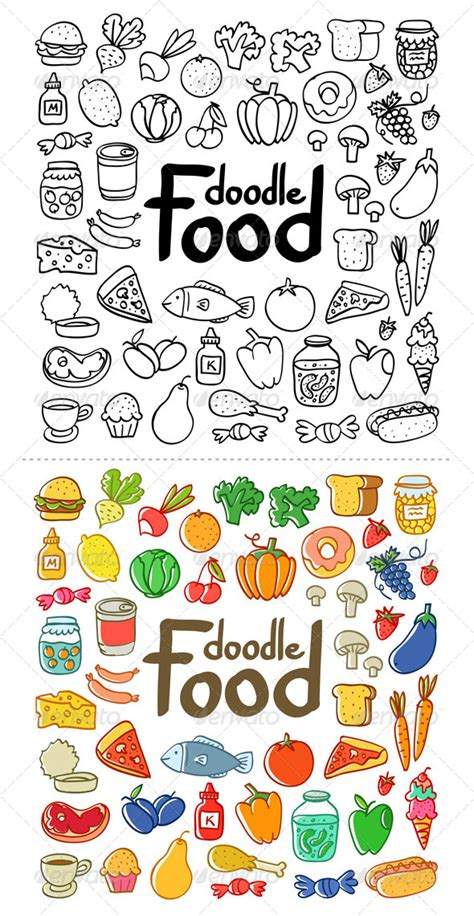 doodle foods food doodle graphicriver