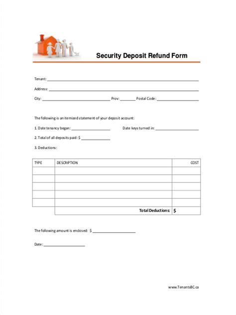 Apartment Application Deposit Refund 8 Deposit Refund Form Sles Free Sle Exle