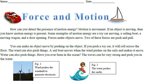 On Science Forces And Motion and motion science reading comprehension